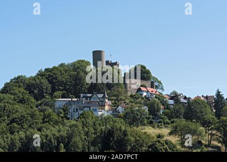View of the village and the castle ruins Oberreifenberg im Taunus, Germany - Stock Photo