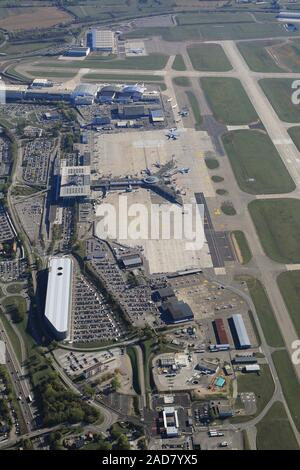 Commercial airport Euroairport Basel Mulhouse Freiburg Apron and terminal building - Stock Photo