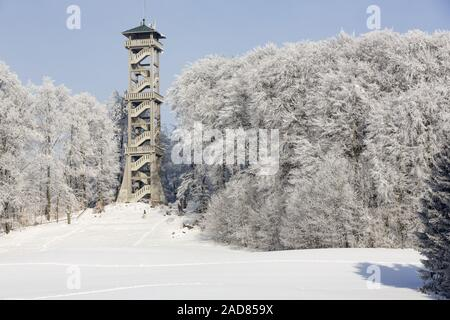 Observation tower in Ebersberg, Bavaria, in winter - Stock Photo