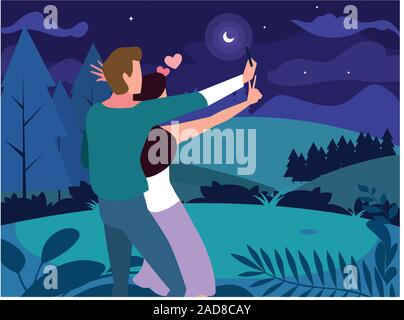 couple of people in love walking in park with night landscape vector illustration design - Stock Photo