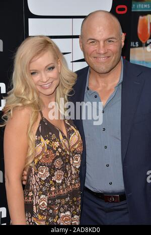 LOS ANGELES, CA. August 22, 2016: Actress Mindy Robinson & boyfriend actor Randy Couture at the Los Angeles premiere of 'Mechanic: Resurrection' at the Arclight Theatre, Hollywood. © 2016 Paul Smith / Featureflash - Stock Photo