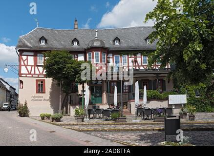 half timbered house on market square in kiedrich germany