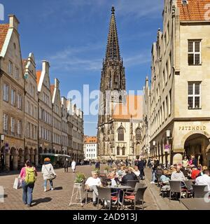 Prinzipalmarkt, historic principal marketplace and St. Lambert´s Church, Muenster, Germany, Europe - Stock Photo