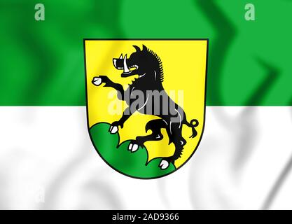3D Flag of Ebersberg (Bavaria), Germany. 3D Illustration. - Stock Photo