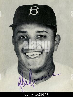 Vintage autographed black and white photo of Brooklyn Dodger baseball player Don Newcombe circa 1950s. Stock Photo