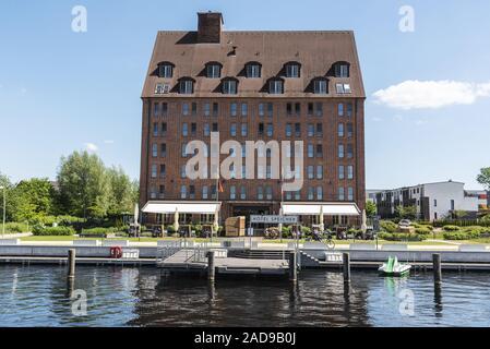 Hotel Speicher storage, Ziegelsee lake, Schwerin, Mecklenburg-Western Pomerania, Germany, Europe - Stock Photo
