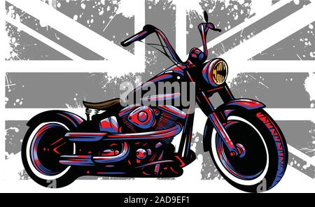 Custom Motorbike with great britain flag in background - Stock Photo