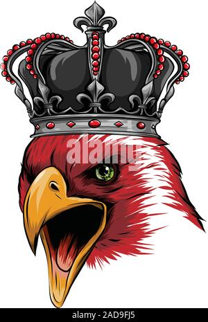 The Vector logo queen of eagles. Cute crown print style eagle of background. - Stock Photo