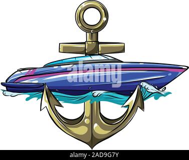 Ships yachts and boats icons set with navigation symbols flat isolated vector illustration - Stock Photo