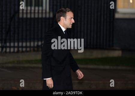 London, UK. 3 December 2019.  Pictured: Emmanuel Macron - President of France. Boris Johnson, UK Prime Minister hosts a reception with foreign leaders ahead of the NATO (North Atlantic Treaty Organisation) meeting on the 4th December. Credit: Colin Fisher/Alamy Live News. Stock Photo