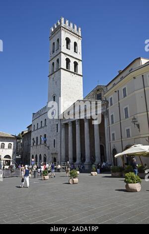 Santa Maria, church, Minerva temple, Piazza del Comune square, Assisi, Italy, Europe - Stock Photo