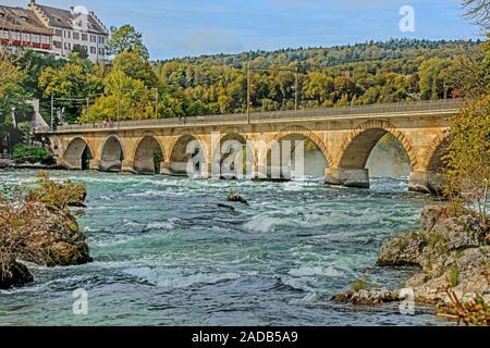 Castle Laufen at the Rhine Falls near Schaffhausen, Switzerland - Stock Photo