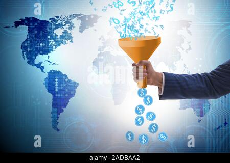 Data monetization concept with funnel and Businessman - Stock Photo
