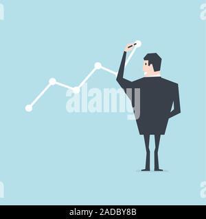 Businessman draws graph of growth. - Stock Photo