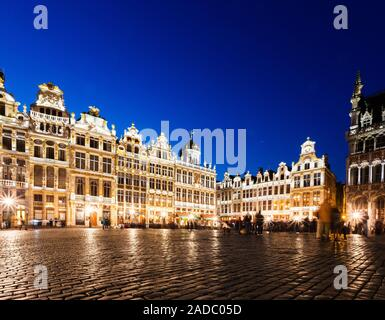 Grand Place in Brussels at night, Belgium