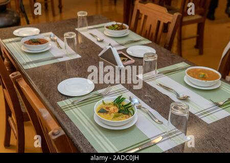 South Indian Food Being Served on Table in Fort Kochi, India - Stock Photo