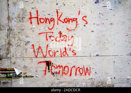 November 2019 Protest graffiti on the wall of a building in Central Hong Kong - Stock Photo