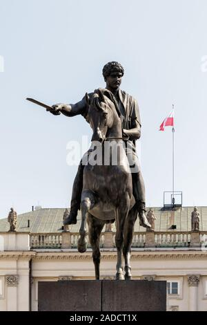 Warsaw, Poland, MAY 03, 2016 - The Prince Józef Antoni Poniatowski statue in front of The Presidential Palace - Stock Photo