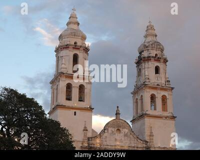 Facade of cathedral in San Francisco de Campeche city in Mexico - Stock Photo