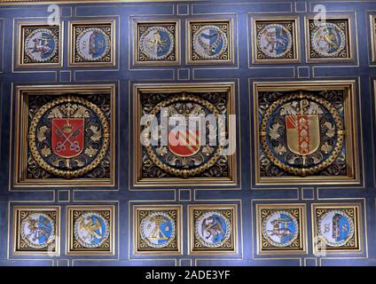 Manchester Central Library - City crest from entrance ceiling,arms and crests of the Duchy of Lancaster, the See of York, the See of Manchester - Stock Photo