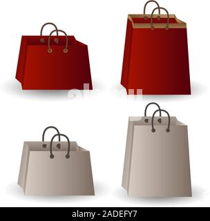 Set of four party favor gift white and red paper with gold ribbon bags isolated on white background. - Stock Photo