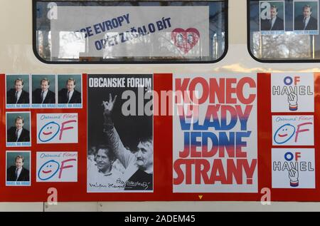 Prague, Czech Republic. 04th Dec, 2019. The presentation of renewed Civic Forum tram nr. 23, used by Vaclav Havel in his 1989 presidential campaign, took place at tram turning point at Vystaviste Holesovice, Prague, Czech Republic, on Wednesday, December 4, 2019. Credit: Michal Krumphanzl/CTK Photo/Alamy Live News - Stock Photo