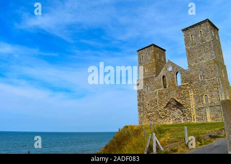 The twin towers of St Mary's Church, Reculver, Herne Bay, Kent, England - Stock Photo
