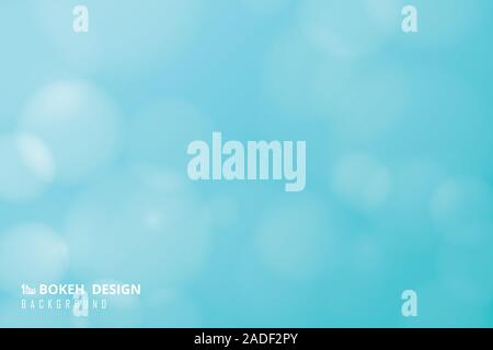 Abstract soft light blue sky of gradient bokeh with circles white decoration background. Decorate for artwork, template, ad, brochure. illustration ve - Stock Photo