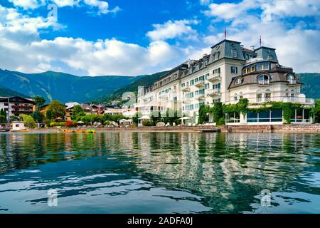 Beautiful view from the lake to the promenade of Zell am See, Austria - Stock Photo