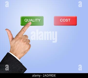 Man pressing  quality and cost buttons - Stock Photo