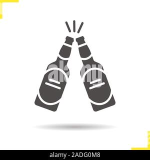 Toasting beer bottles icon. Drop shadow cheers silhouette symbol. Pub and bar sign. Negative space. Vector isolated illustration - Stock Photo