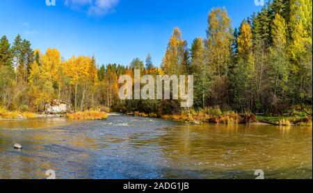 Autumn landscape in Karelia with a river.  Karelia, Russia. 06.10.2019. - Stock Photo