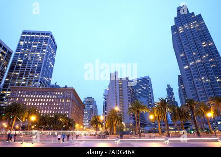 Skyline of buildings at downtown from Embarcadero, San Francisco, California, USA - Stock Photo