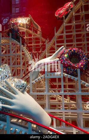 Bergdorf Goodman Holiday Window Display, NYC - Stock Photo