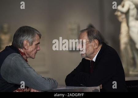 December 4, 2019, Madrid, Madrid, Spain: Actor Jeremy Irons, Javier Solana attends 'The Prado Museum. A Collection of Wonders' Photocall at The Prado Museum on December 4, 2019 in Madrid, Spain (Credit Image: © Jack Abuin/ZUMA Wire) - Stock Photo