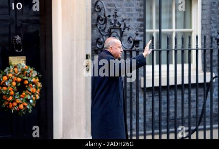 Turkish President Recep Tayyip Erdoğan arriving in Downing Street for a meeting of NATO leaders, 3rd Dec 2019 - Stock Photo
