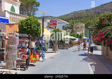 Souvenir shops at pedestrian area of Sant Elm, San Telmo, Mallorca, Balearic islands, Spain - Stock Photo