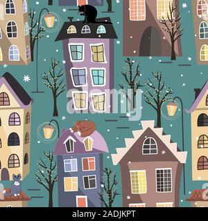 Seamless winter city houses, cats, and trees pattern. Cozy town street under fairy snowfall. Christmas vector background - Stock Photo