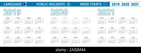 Simple calendar template in Finnish for 2019, 2020, 2021 years. Week starts from Monday. Vector illustration. - Stock Photo