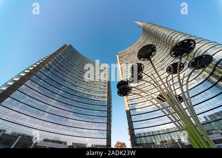 Piazza Gae Aulenti is one of the most beautiful squares in the world - Stock Photo