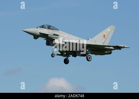 Eurofighter Typhoon FGR.4 ZK365 of 41 Sqd, Royal Air Force, seen landing and based at RAF Coningsby, Lincolnshire on the 13th September 2018. - Stock Photo