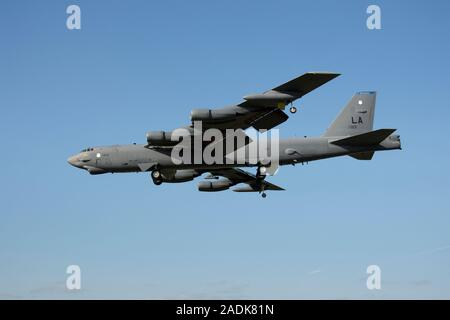 Boeing B-52H Stratofortress, 61-0013, of 2nd BW, United States Air Force Global Strike Command based at Barksdale AFB, seen landing at RAF Fairford - Stock Photo