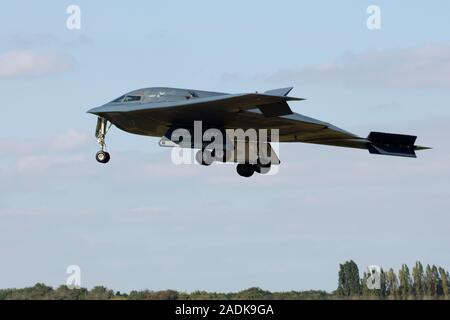 Northrop B-2A Spirit stealth bomber 82-1068 coded 'WM', named Spirit of New York, from the 509th BW, based Whiteman AFB, seen landing at RAF Fairford - Stock Photo