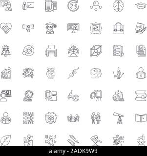 Education structure line icons, signs, symbols vector, linear illustration set - Stock Photo