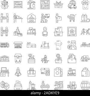 Storage linear icons, signs, symbols vector line illustration set - Stock Photo