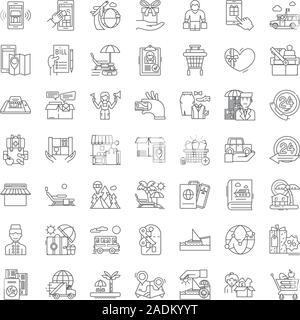 Hotel services linear icons, signs, symbols vector line illustration set - Stock Photo