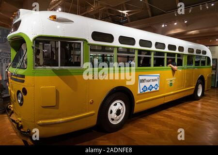 DETROIT,USA - AUGUST 6,2018: Henry Ford Museum. The bus on which Rosa Parks refused to give up her seat sparking the Montgomery Bus Boycott, a U.S. ci - Stock Photo