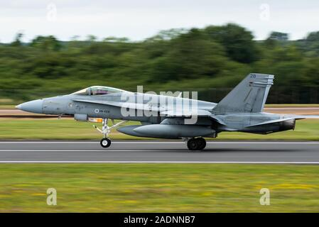 A McDonnell Douglas F/A-18 Hornet twin-engine fighter jet of the Finnish Air Force. - Stock Photo