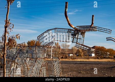 Hanksville, Utah - Carl's Critter Garden, a sculpture park created from scrap materials. - Stock Photo