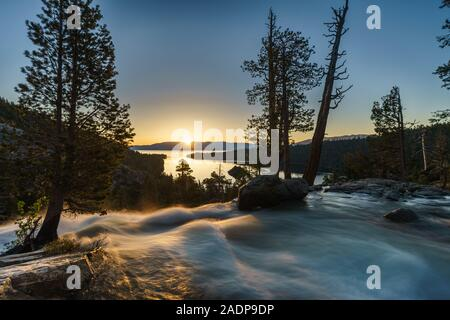 Sunrise over Eagle Falls, Emerald Bay, Lake Tahoe, California, USA - Stock Photo